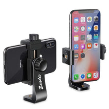 Load image into Gallery viewer, Zeadio Tripod Smartphone Holder, Cell Phone Mount Adapter, Selfie Stick Monopod Adjustable Clamp, Vertical and Horizontal Swivel Bracket, Fits for iPhone, Samsung, Huawei and All Phones