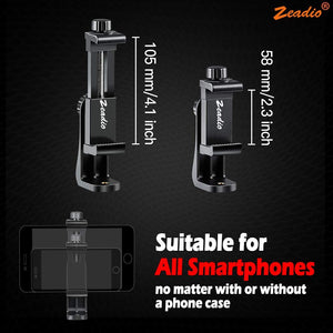 Zeadio Tripod Smartphone Holder, Cell Phone Mount Adapter, Selfie Stick Monopod Adjustable Clamp, Vertical and Horizontal Swivel Bracket, Fits for iPhone, Samsung, Huawei and All Phones