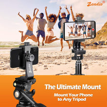 将图片加载到图库查看器,Zeadio Tripod Smartphone Holder, Cell Phone Mount Adapter, Selfie Stick Monopod Adjustable Clamp, Vertical and Horizontal Swivel Bracket, Fits for iPhone, Samsung, Huawei and All Phones