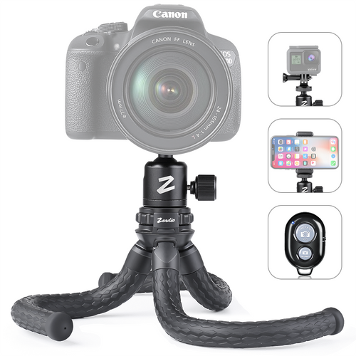 Zeadio Flexible Camera Tripod Kits, with Metal Ball Head Mount, Cellphone Tripod Holder and Standard dapter for Gopro, Camera,Camcorder, DSLR, Action Cameras etc