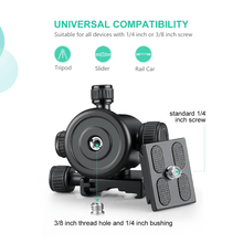 Load image into Gallery viewer, Zeadio Tripod Ball Head, Max Load 15kg/33lb, 360° Rotation CNC Ball Head Mount Adapter with Quick Release Plate for Monopod, Slider, DSLR Camera, LED Light, Monitor, etc