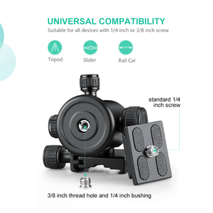 Zeadio Tripod Ball Head, Max Load 15kg/33lb, 360° Rotation CNC Ball Head Mount Adapter with Quick Release Plate for Monopod, Slider, DSLR Camera, LED Light, Monitor, etc