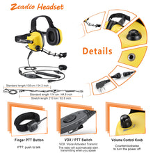 Load image into Gallery viewer, Zeadio Military Noise Cancelling Overhead Headset Earpiece for 2 PIN Kenwood Baofeng PUXING QUANSHENG WEIERWEI WOUXUN HYT TYT Radio - Yellow