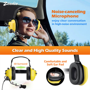 Zeadio Military Noise Cancelling Overhead Headset Earpiece for 2 PIN Kenwood Baofeng PUXING QUANSHENG WEIERWEI WOUXUN HYT TYT Radio - Yellow
