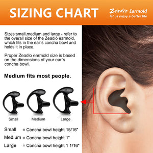 Zeadio Earplug Earmould Earbud for Two-Way Radio Coil Tube Audio Kits - Black