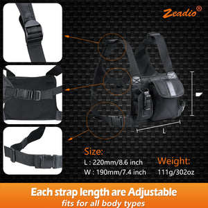 Zeadio Walkie Talkie Chest Bag with Adjustable Pocket and Harness Strap, Protective Holder Pack Case Holster for GPS Motorola Kenwood Baofeng Midland iCom Yaesu Two Way Radio