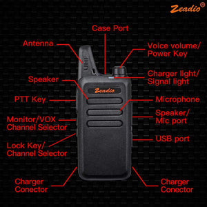 Zeadio PMR446 Ultra-thin Lightweight Walkie Talkies, 16-Channel Long Range License-Free Single Band Slim Two-Way Radio with Belt Clip and Integrated Antenna, 1 Pair