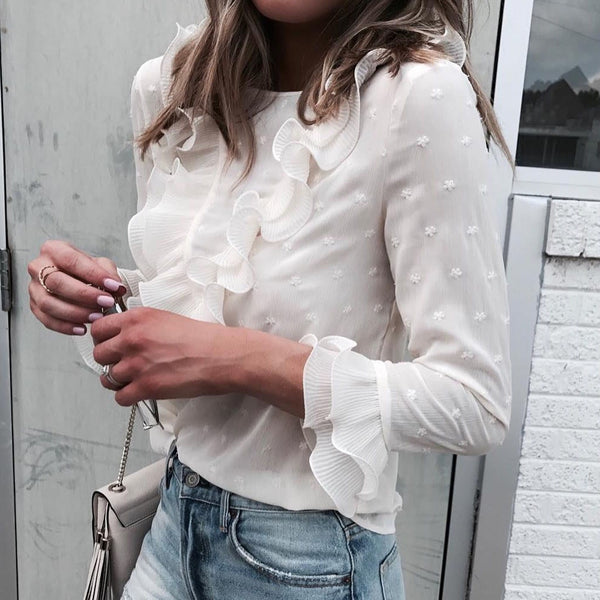 Summer white Ruffles Blouse
