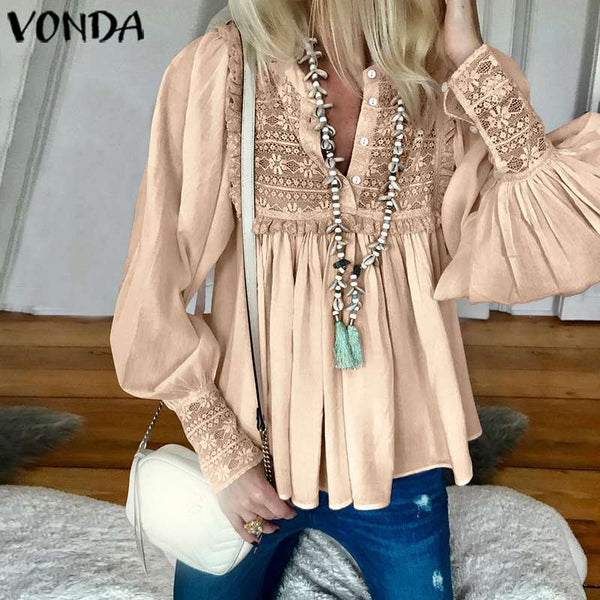 V Neck Long Lantern Sleeve