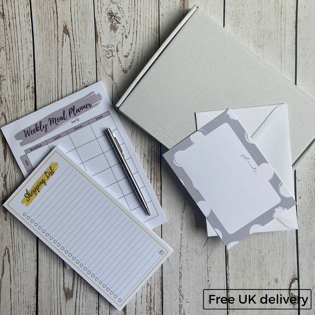 Letterbox Gift - Weekly Meal Planner, Shopping List and Pen (available in Grey/Silver and Peach/Rose Gold)