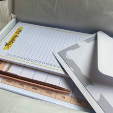 Load image into Gallery viewer, Letterbox Gift - Weekly Meal Planner, Shopping List and Pen (available in Grey/Silver and Peach/Rose Gold)