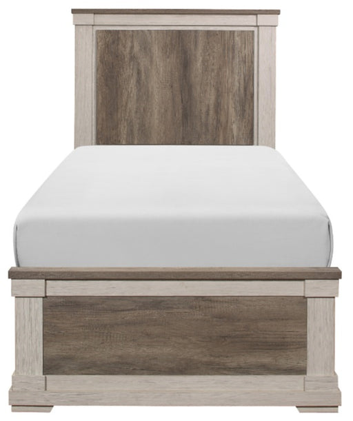 Homelegance Arcadia Twin Panel Bed in White & Weathered Gray 1677T-1* image