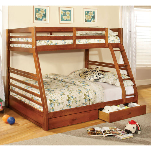 California III Oak Twin/Full Bunk Bed w/ 2 Drawers image