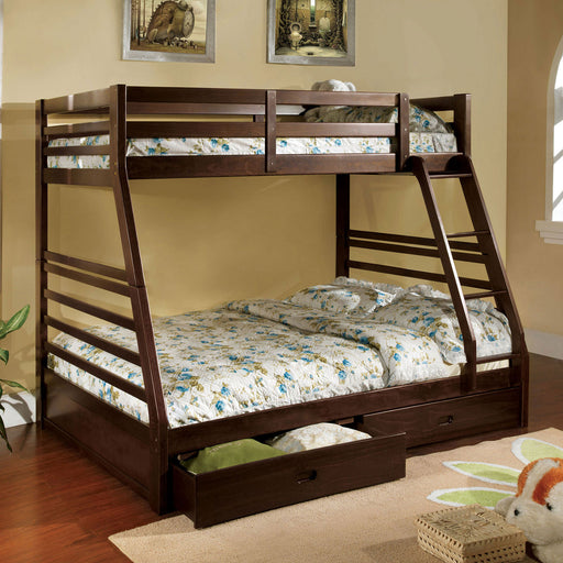 California III Dark Walnut Twin/Full Bunk Bed w/ 2 Drawers image