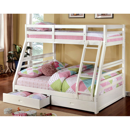 California III White Twin/Full Bunk Bed w/ 2 Drawers image