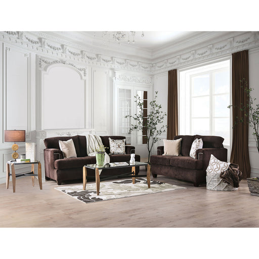 Brynlee Chocolate Sofa + Love Seat + 4 Pillows image