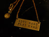 "Stamped ""WORK HARD/ PLAY HARD"" necklace"