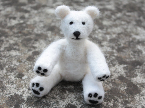 """Polar bear"" needle felted friend"