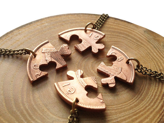 "Handcut coin ""Friendship IV"" necklaces"