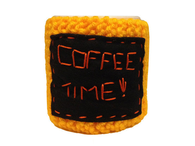"Knitted cozy mug warmer ""Coffee time!"""
