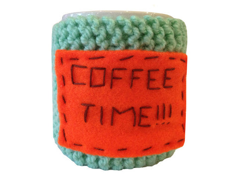 "Knitted cozy mug warmer ""Coffee time"""