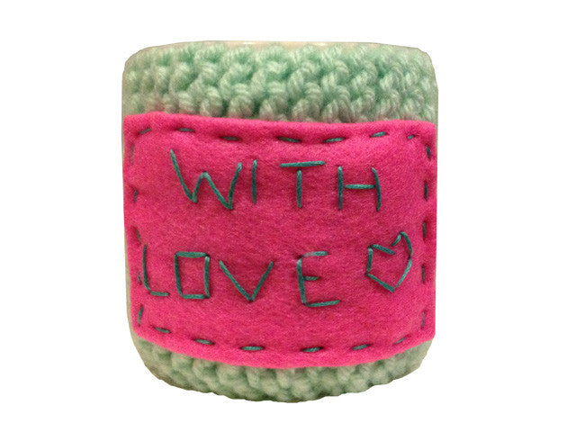 "Knitted cozy mug warmer ""With love"""