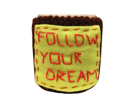 "Knitted cozy mug warmer ""Follow your dream"""