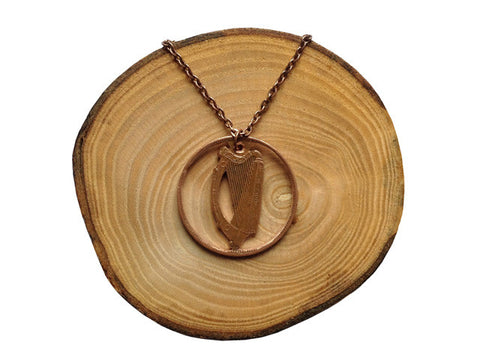 Handcut coin necklace - Irish harp