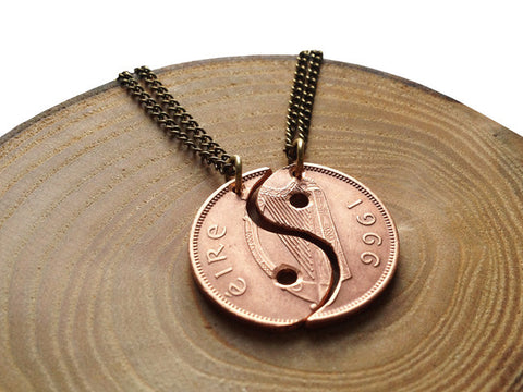 "Handcut coin ""Yin Yang"" necklace"