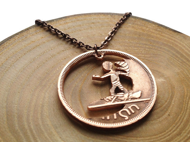 "Handcut coin necklace ""Surfer"""