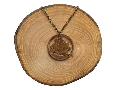 "Handcut coin necklace ""Ship"""