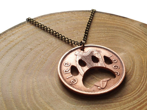 "Handcut coin ""Dog paw"" necklace"