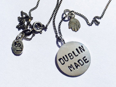 DUBLIN MADE 925' sterling silver stamped necklace