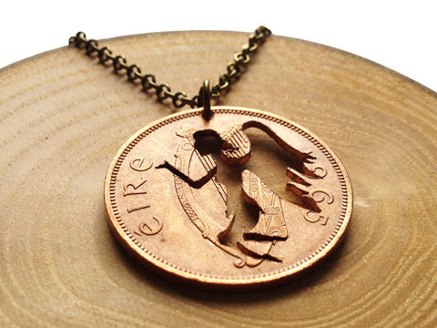 "Handcut coin ""Fairy"" necklace"