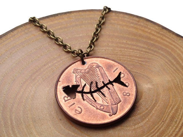 "Handcut coin ""Fishbone"" necklace"