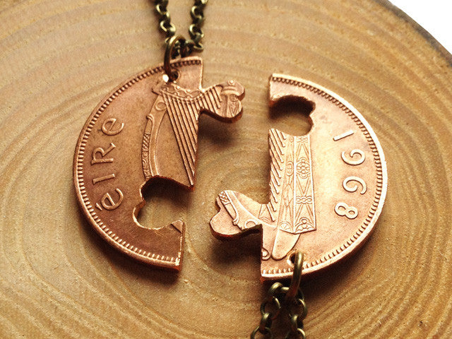 "Handcut coin two ""Friendship"" necklace"