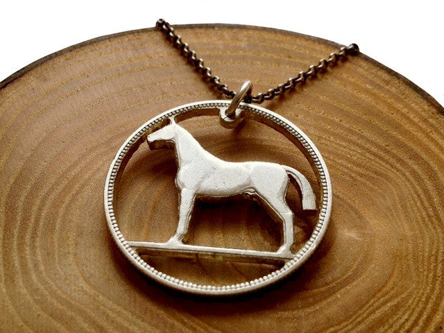 "Handcut coin sterling silver ""Horse"" necklace"