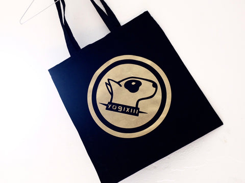 YOGIXIII dog logo BLACK tote bag