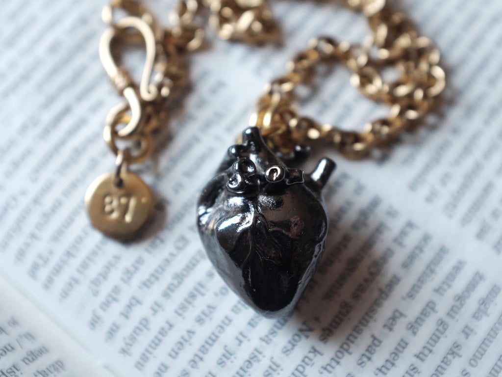 BLACK anatomical heart necklace