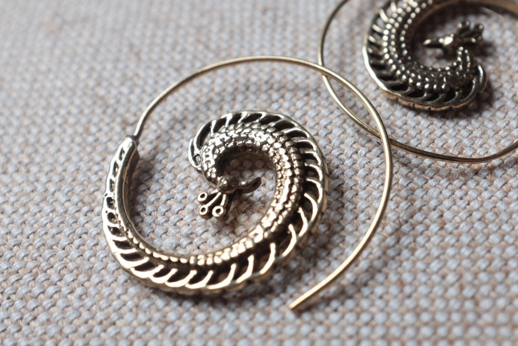 Spiral bird BOHO earrings