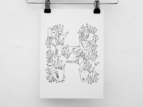 CA hands.inked print