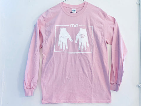MA hands pink long sleeve tee