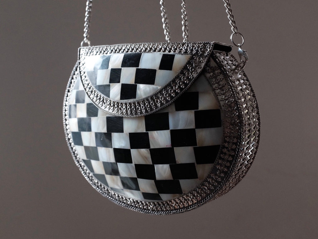 Black and white BOHO BAG