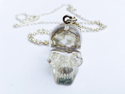 Big crystal skull necklace