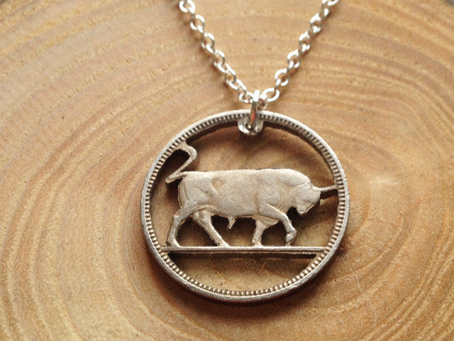 "Handcut Irish coin ""Bull"" necklace (1s)"
