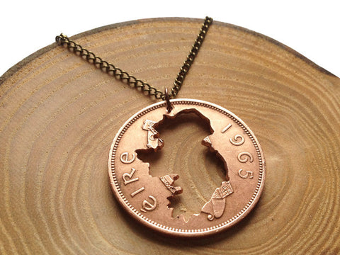 "Handcut coin necklace ""Ireland map"""