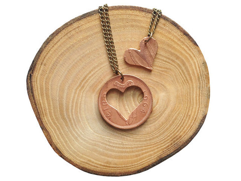 "Handcut Irish coin necklace ""Love"""