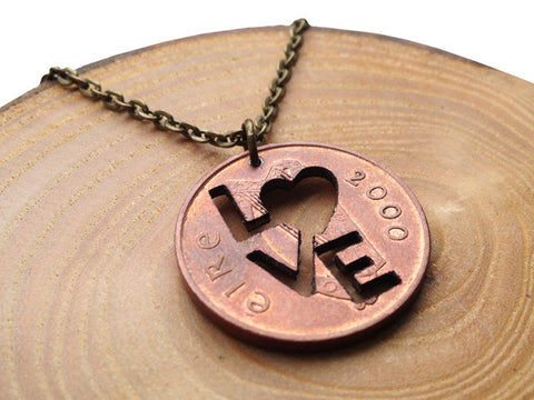 Handcut coin 'LOVE' necklace