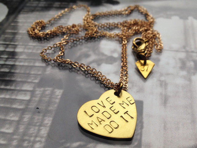 "Raw brass ""LOVE"" necklace"