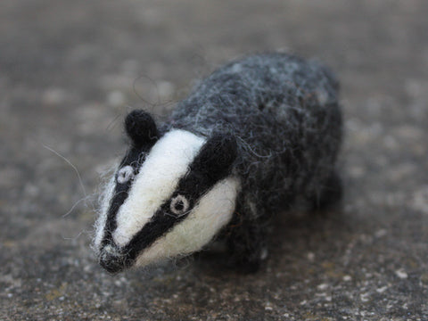 Needle felted little Badger